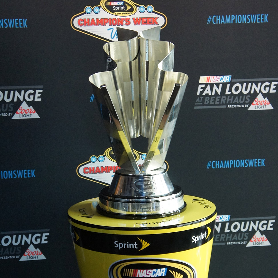NASCAR Champion's Week trophy on display