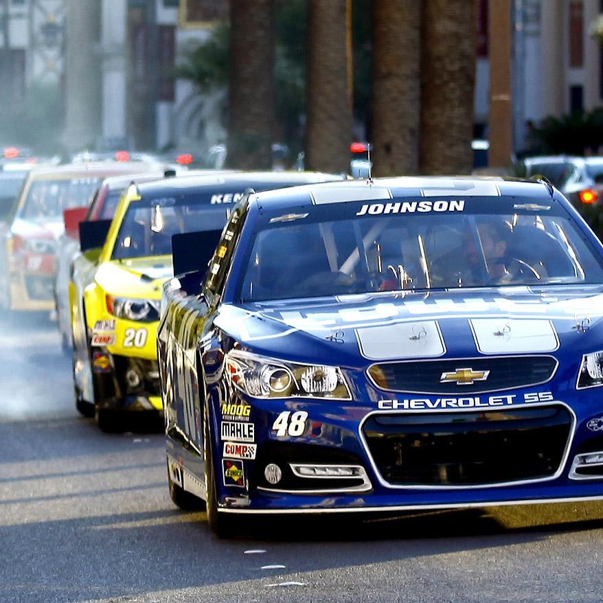 NASCAR cars on pedestrian street