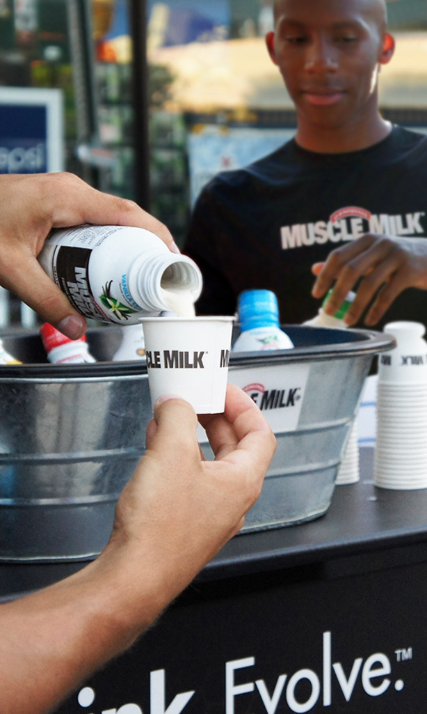 Muscle Milk poured into sample cup