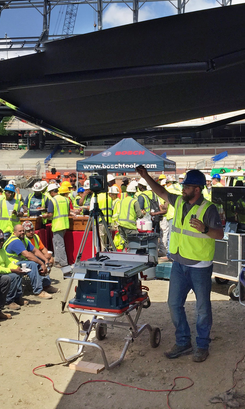 Bosch safety demonstration at construction stie
