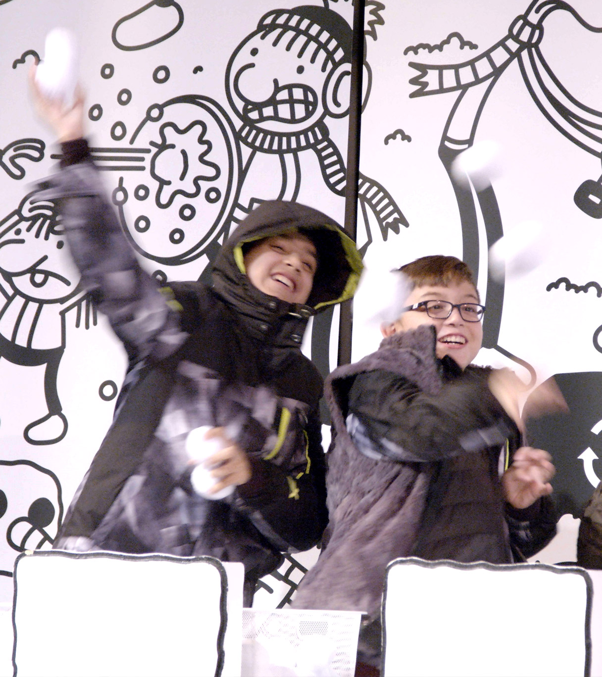Children in a snowball fight at Diary of a Wimpy Kid