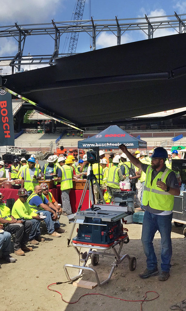 Bosch safety demonstration at construction site