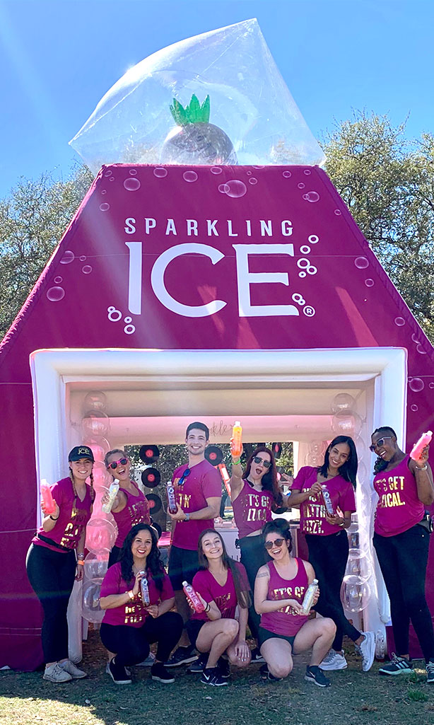 Sparkling ICE Inflatable tent with brand ambassadors