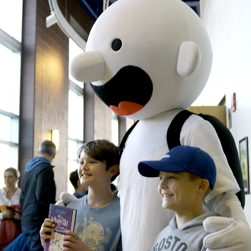 Children in crowd at Diary of a Wimpy Kid's tour