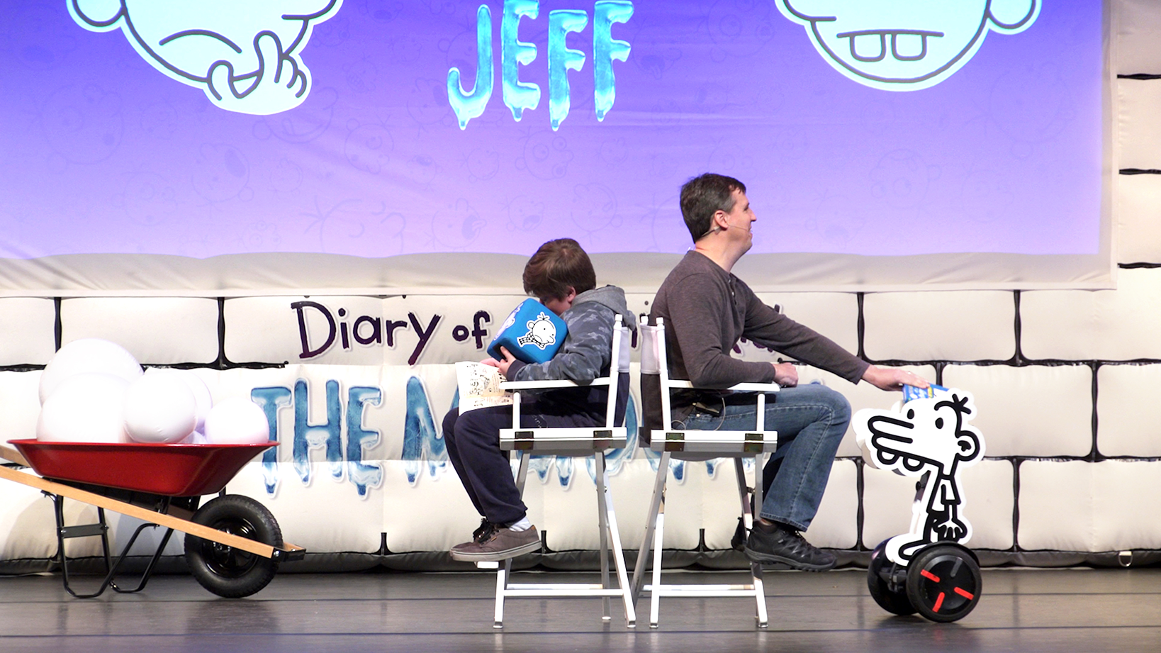 Children on stage at Diary of a Wimpy Kid