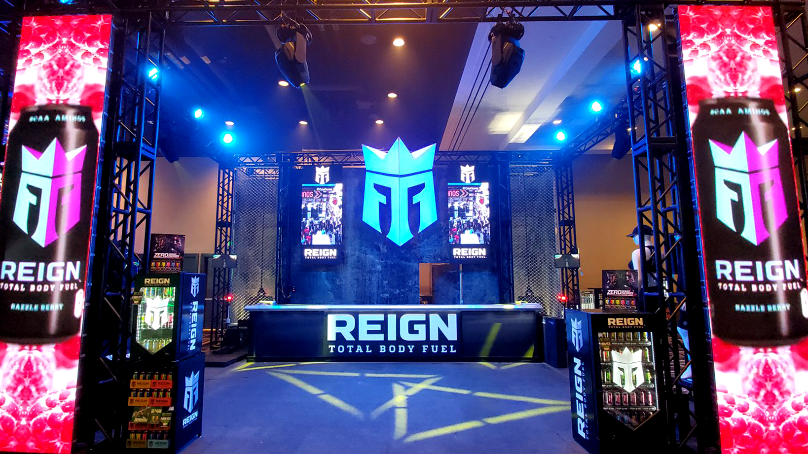 The Reign trade show booth