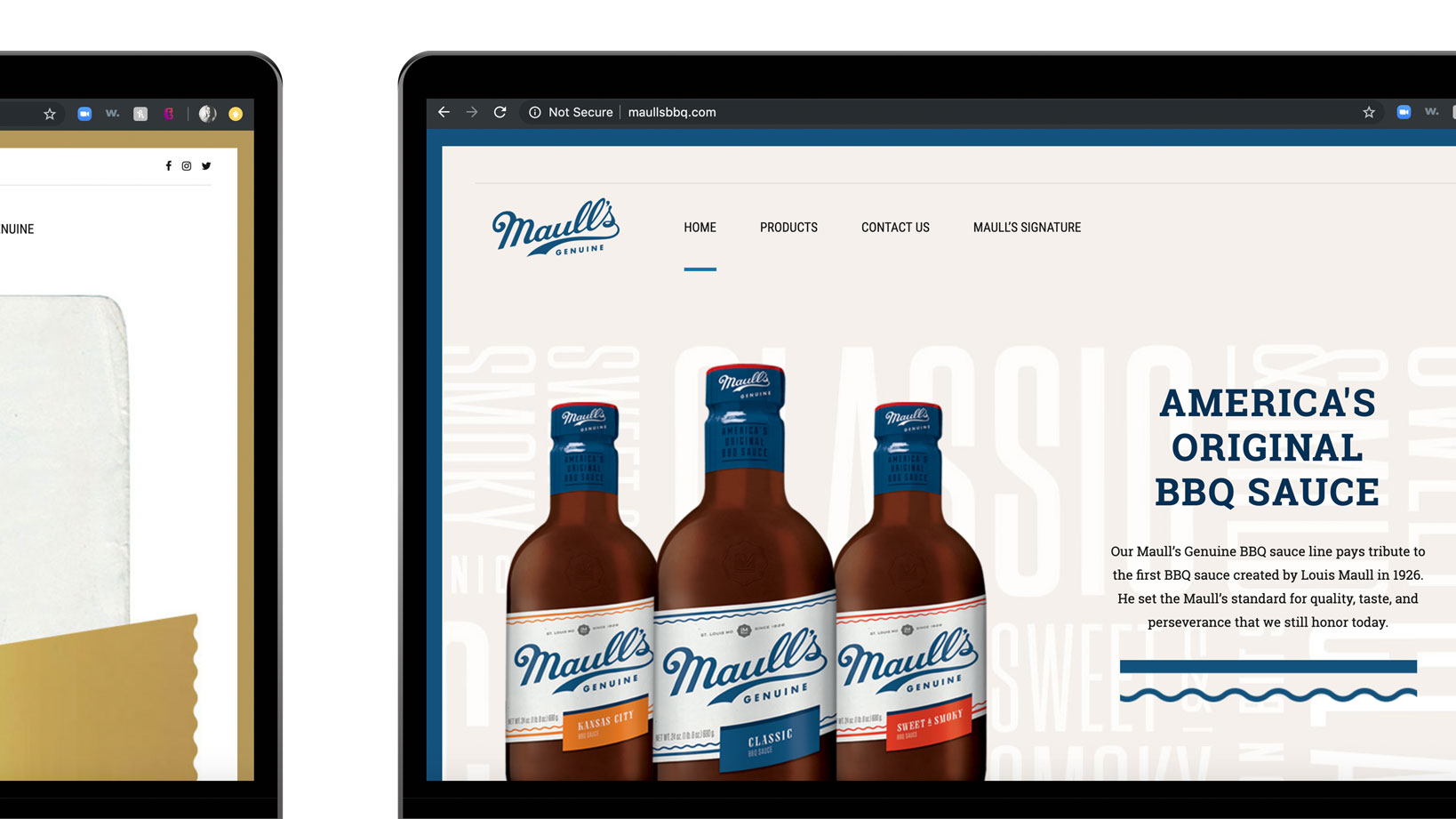 Maull's Genuine website Design, E-commerce, content and social Media